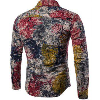 New Spring Men'S Long Sleeved Floral Shirt CS05 - RED XL