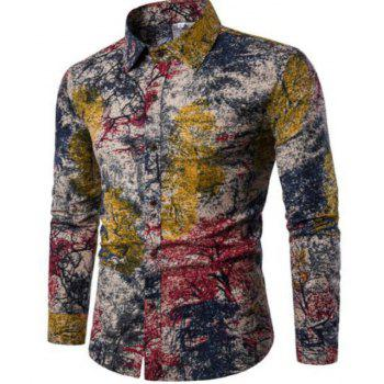 New Spring Men'S Long Sleeved Floral Shirt CS05 - RED L