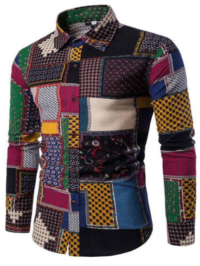 New Spring Fashion Personality Colorful Men's Long Sleeve Shirt - BLACK XL