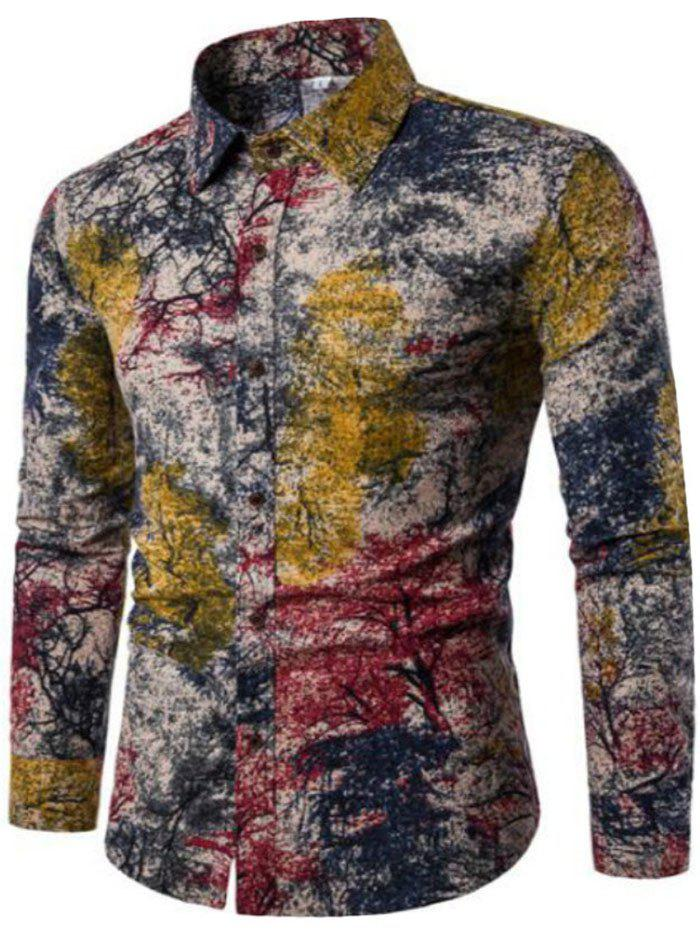 New Spring Men'S Long Sleeved Floral Shirt CS05 - RED 4XL