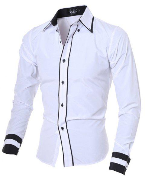 2017 New Fashion Personality Men'S Self-Cultivation Casual Long-Sleeved Shirt - WHITE 2XL