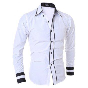2017 New Fashion Personality Men'S Self-Cultivation Casual Long-Sleeved Shirt - WHITE M