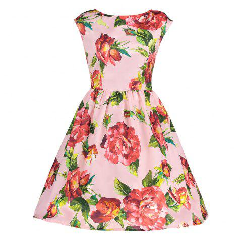Trendy Boat Neck Cap Sleeve Floral Print A-line Zipper Women Dress - PINK M