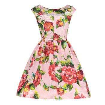 Trendy Boat Neck Cap Sleeve Floral Print A-line Zipper Women Dress - PINK L