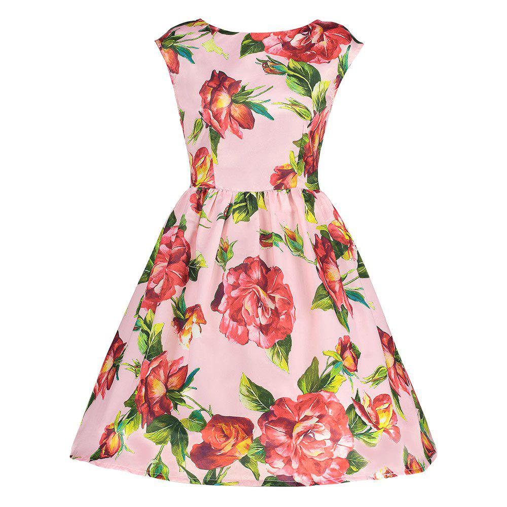 Trendy Boat Neck Cap Sleeve Floral Print A-line Zipper Women Dress - PINK XL