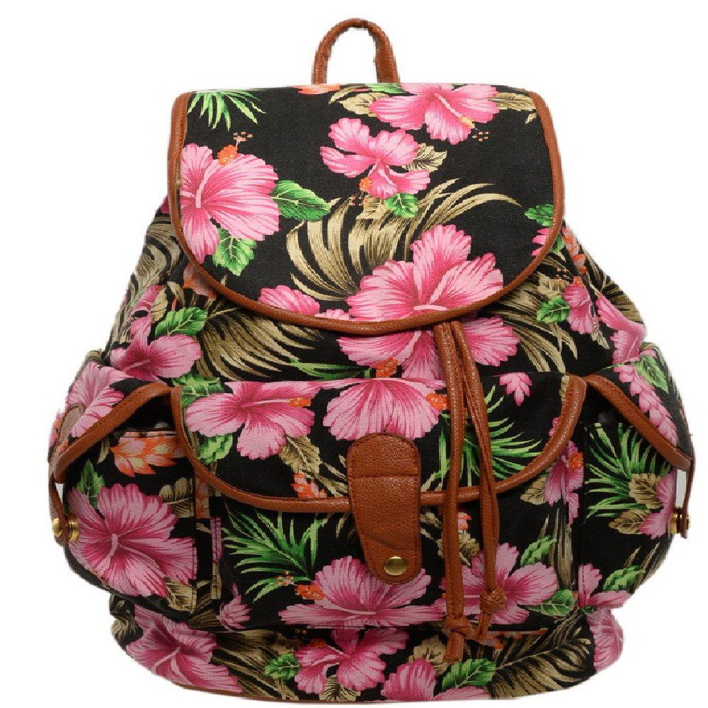 Sac à dos pour femme Summer Flower Design Trendy Bag - Noir