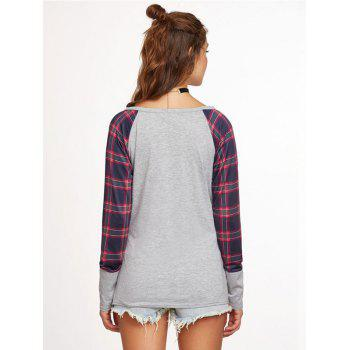 The New Grid Stitching Round Neck Long Sleeve T-Shirt - GRAY S