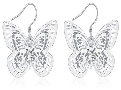 Graceful Hollow Out Butterfly Drop Earrings Charm Jewelry - SILVER