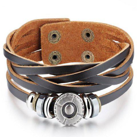 Men's Leather Double-Breasted Braided Bracelet - MOCHA