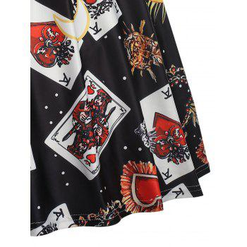 Trendy Turn-down Collar Long Sleeve Print Women A-line Dress - BLACK M