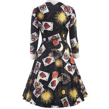 Trendy Turn-down Collar Long Sleeve Print Women A-line Dress - BLACK L