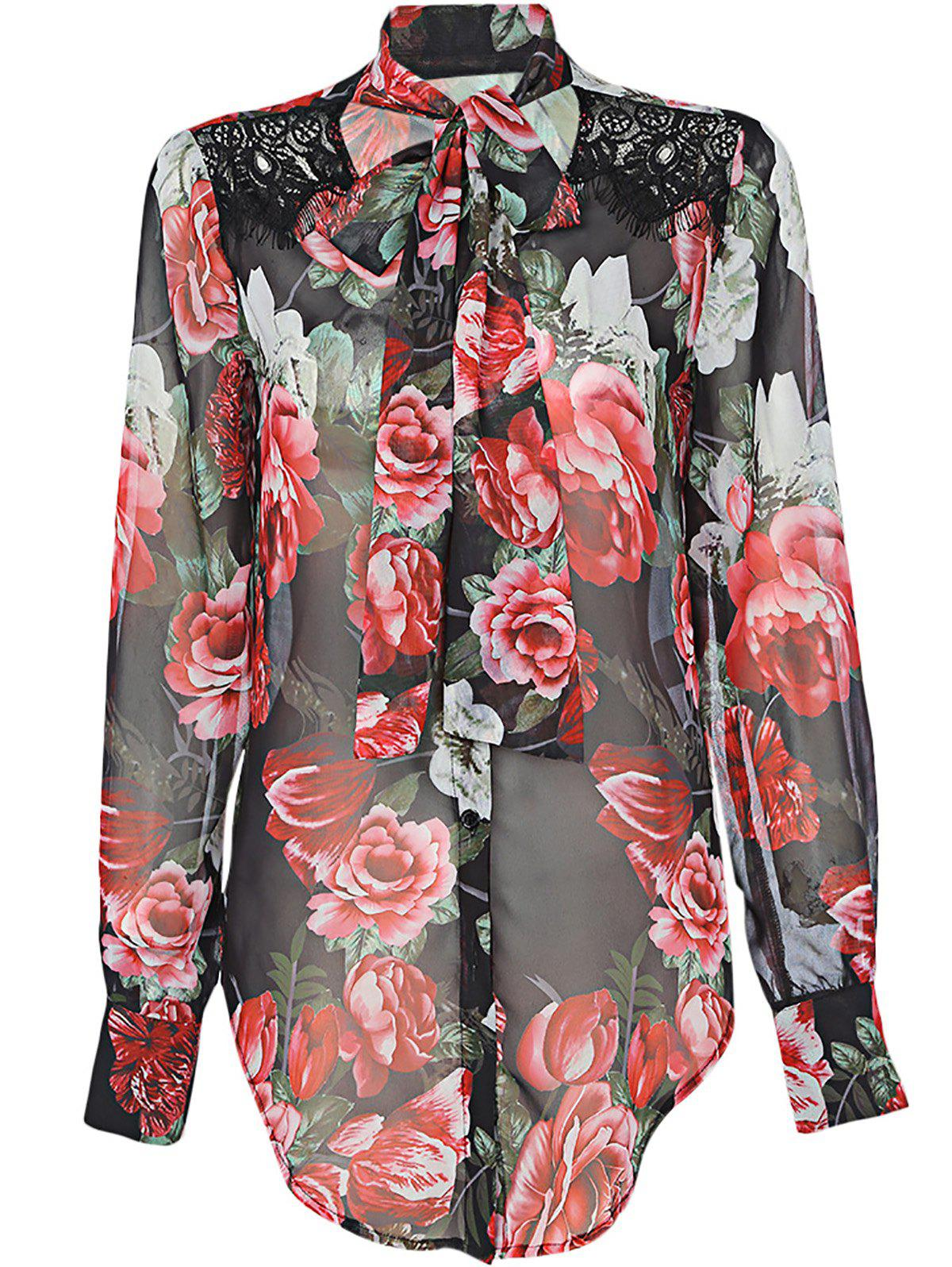 Trendy V Neck Vintage Style Printed Floral Lacing Shirt for Women - BLACK / ROSE M