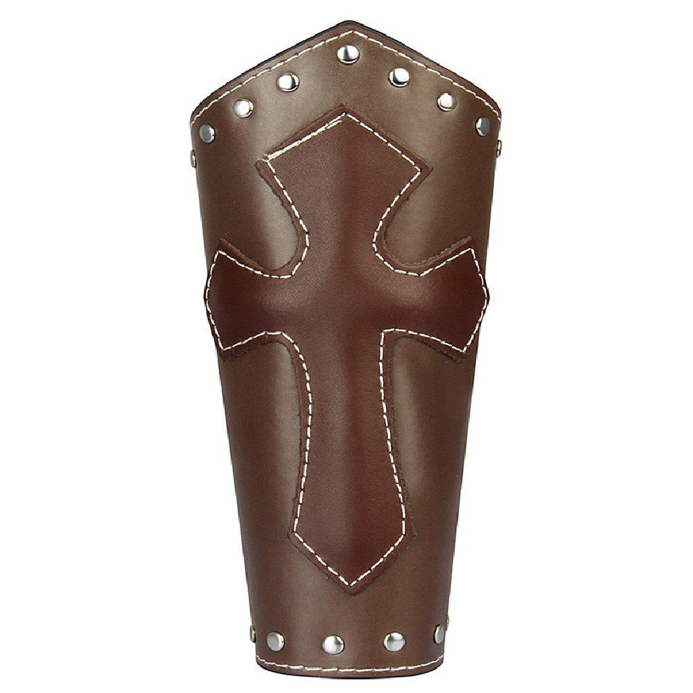 Fashion Jewelry Cowhide Cross Rivet Bracelets - BROWN