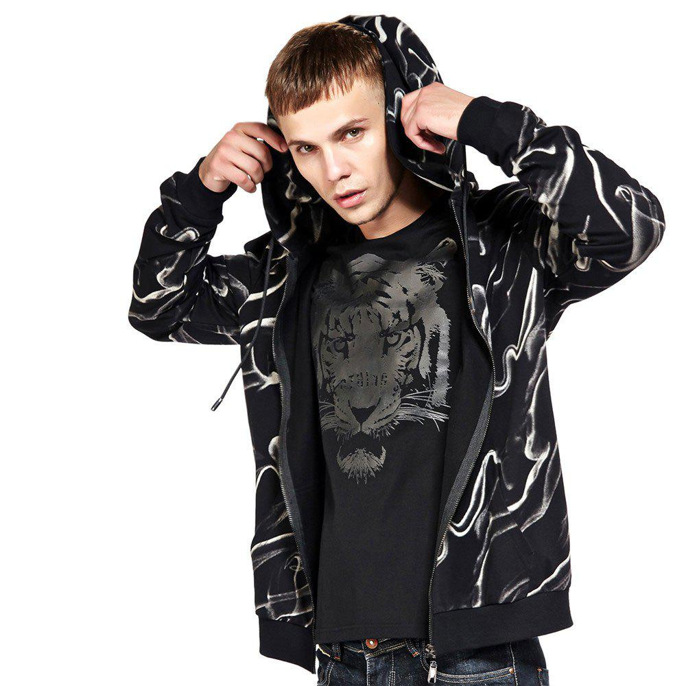 Men's Hoodie Casual Fashion Color Block Print All Match Long Sleeve Hoodie - BLACK 2XL