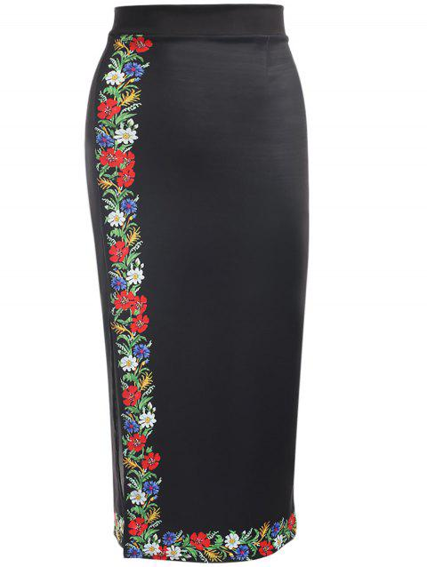Trendy High Waist Floral Print Slit Zipper Women Pencil Skirt - BLACK XL
