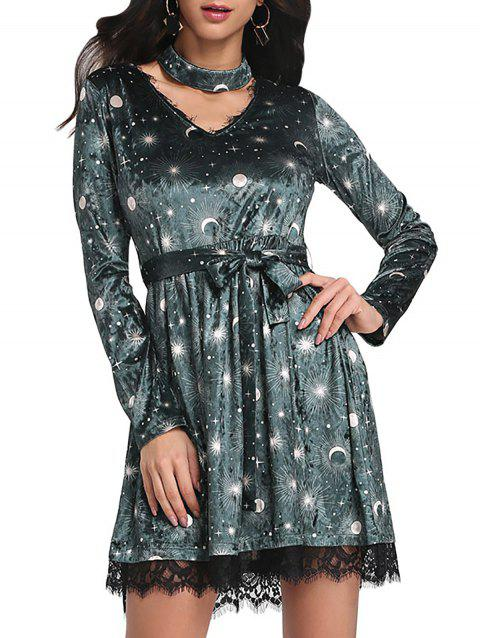 Trendy V Neck Long Sleeve Choker Spliced Lace Belted Moon Print Women Velour Dress - GREEN 2XL