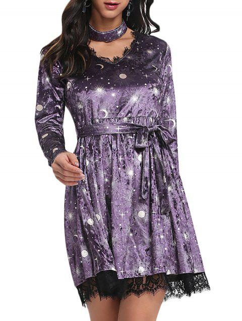 Trendy V Neck Long Sleeve Choker Spliced Lace Belted Moon Print Women Velour Dress - PURPLE S