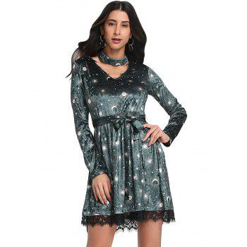 Trendy V Neck Long Sleeve Choker Spliced Lace Belted Moon Print Women Velour Dress - GREEN L