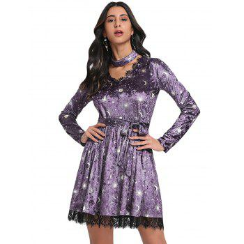Trendy V Neck Long Sleeve Choker Spliced Lace Belted Moon Print Women Velour Dress - PURPLE L