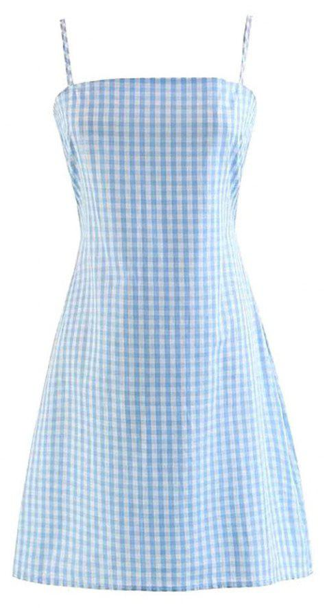 Sexy Backless Plaid Dress - BLUE L