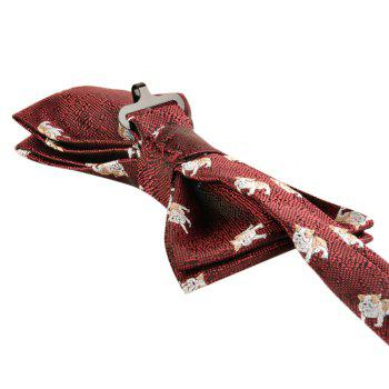 Casual Polyester Puppy Print Necktie Handkerchief Bow Tie Set for Wedding Party - RED