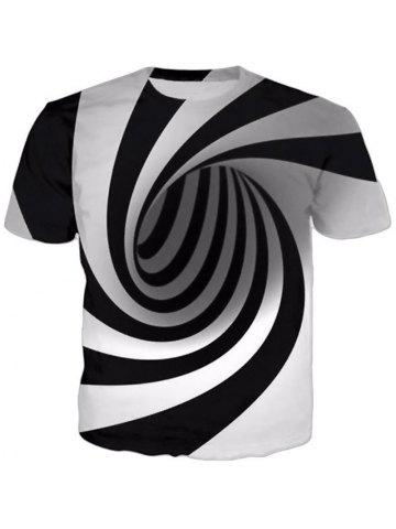 5e9a3fac6763 New Men s 3D Swirl Print Short Sleeve T-Shirt