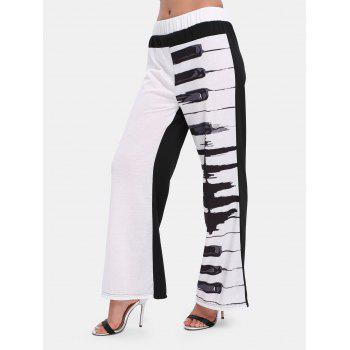 Elastic Waist Print Wide-leg Long Pants - WHITE L