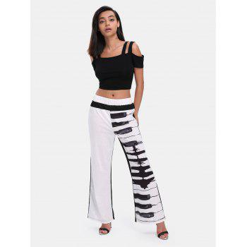 Elastic Waist Print Wide-leg Long Pants - WHITE XL