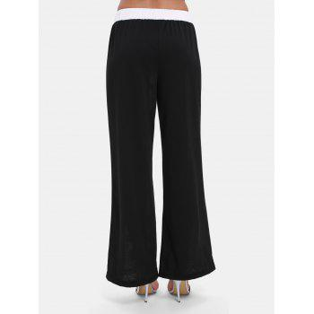 Elastic Waist Print Wide-leg Long Pants - WHITE 3XL