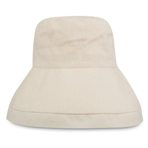 YF013 Pure Cotton Flat Top Fisherman Bucket Hat - BEIGE
