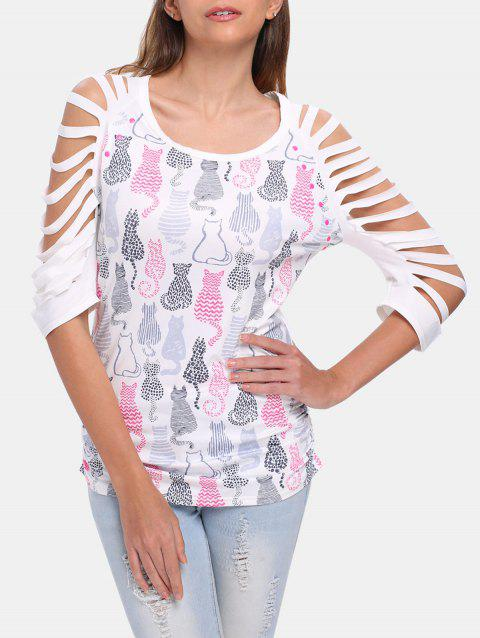 Round Collar 3/4 Sleeve Cut Out Cat Pattern T-shirt - WHITE XL