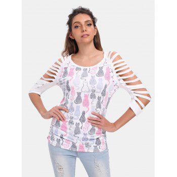 Round Collar 3/4 Sleeve Cut Out Cat Pattern T-shirt - WHITE 2XL