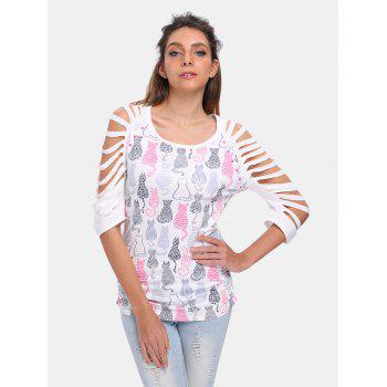 Round Collar 3/4 Sleeve Cut Out Cat Pattern T-shirt - WHITE 3XL