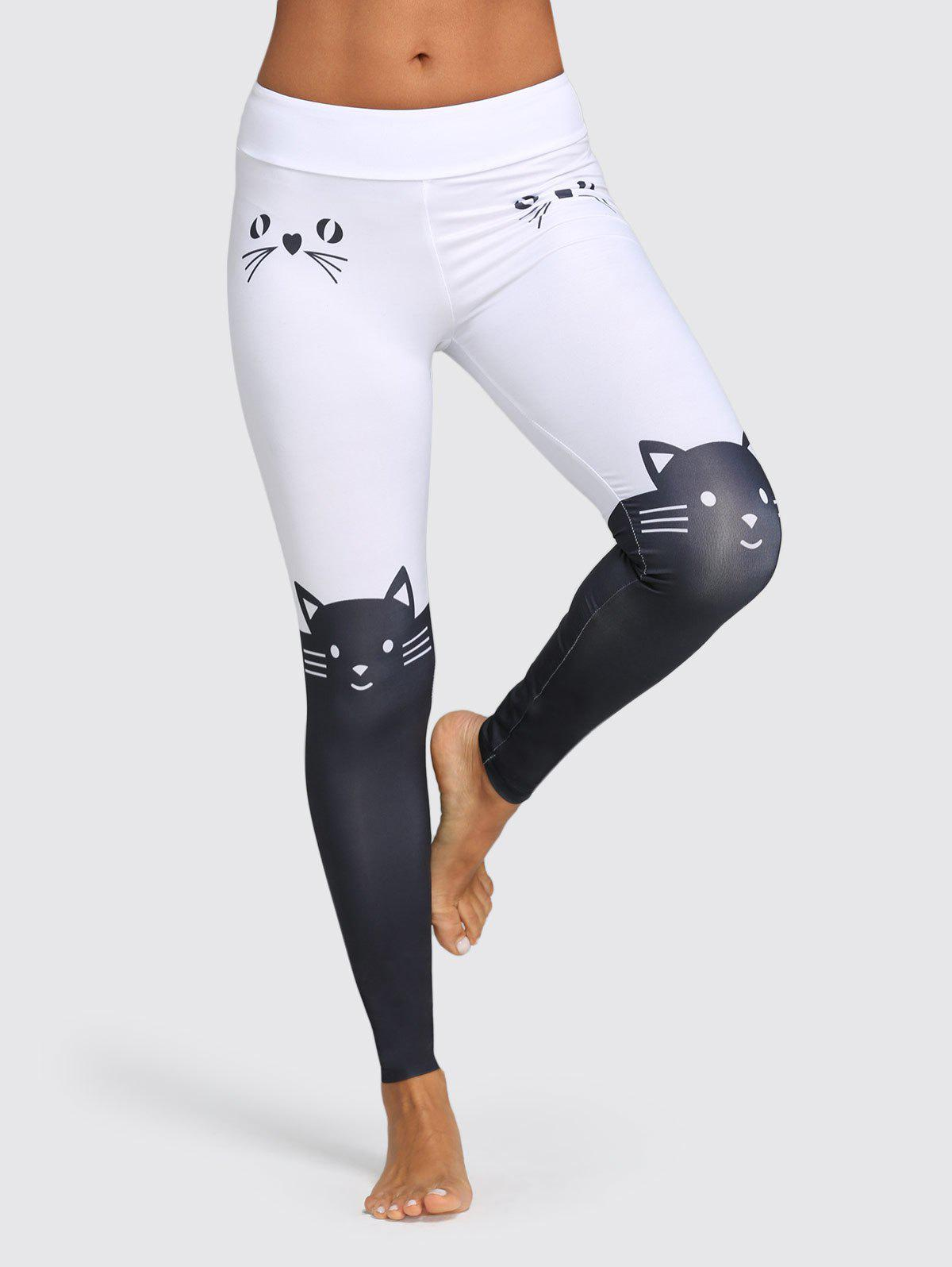 Mid Waist Cat Print Color Blocking Skinny Pants - WHITE M