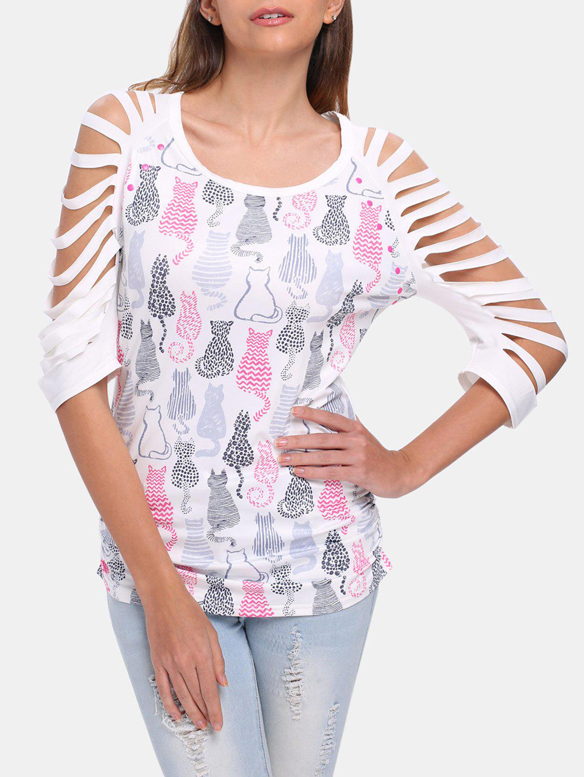 Round Collar 3/4 Sleeve Cut Out Cat Pattern T-shirt - WHITE L