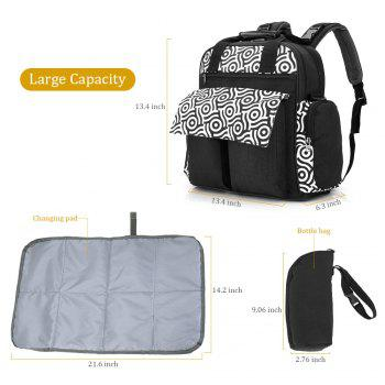 010 Diaper Bag Multifunction Backpack Separate Pockets Adjustable Straps - BLACK