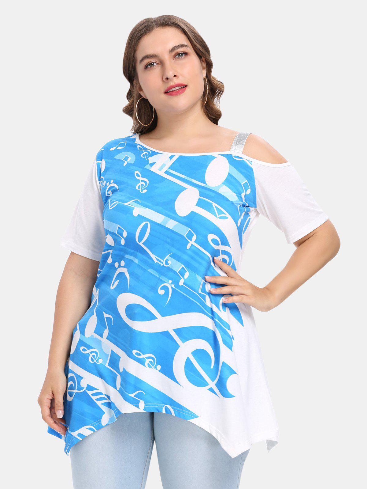 Plus Size Skew Collar Short Sleeve Print Asymmetric T-shirt tie sleeve skew collar t shirt