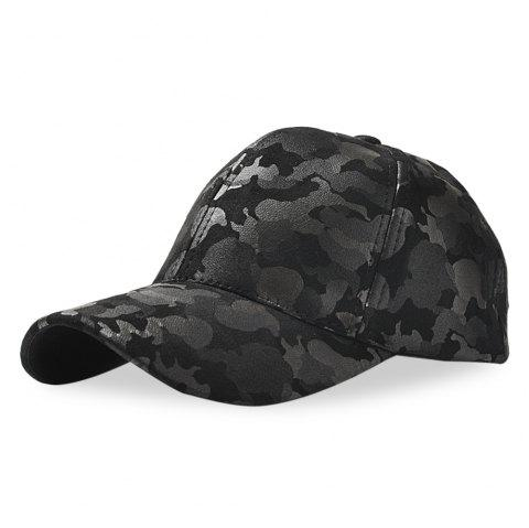 Baseball Cap 6 Panel Hip Hop Men Women Suede Camouflage Adjustable Hat - BLACK