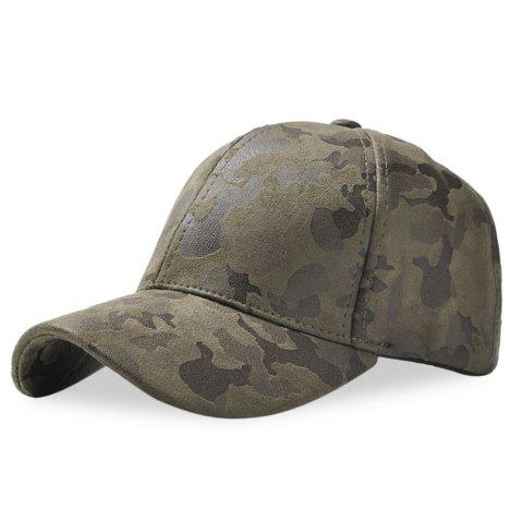 Baseball Cap 6 Panel Hip Hop Men Women Suede Camouflage Adjustable Hat - ARMY GREEN