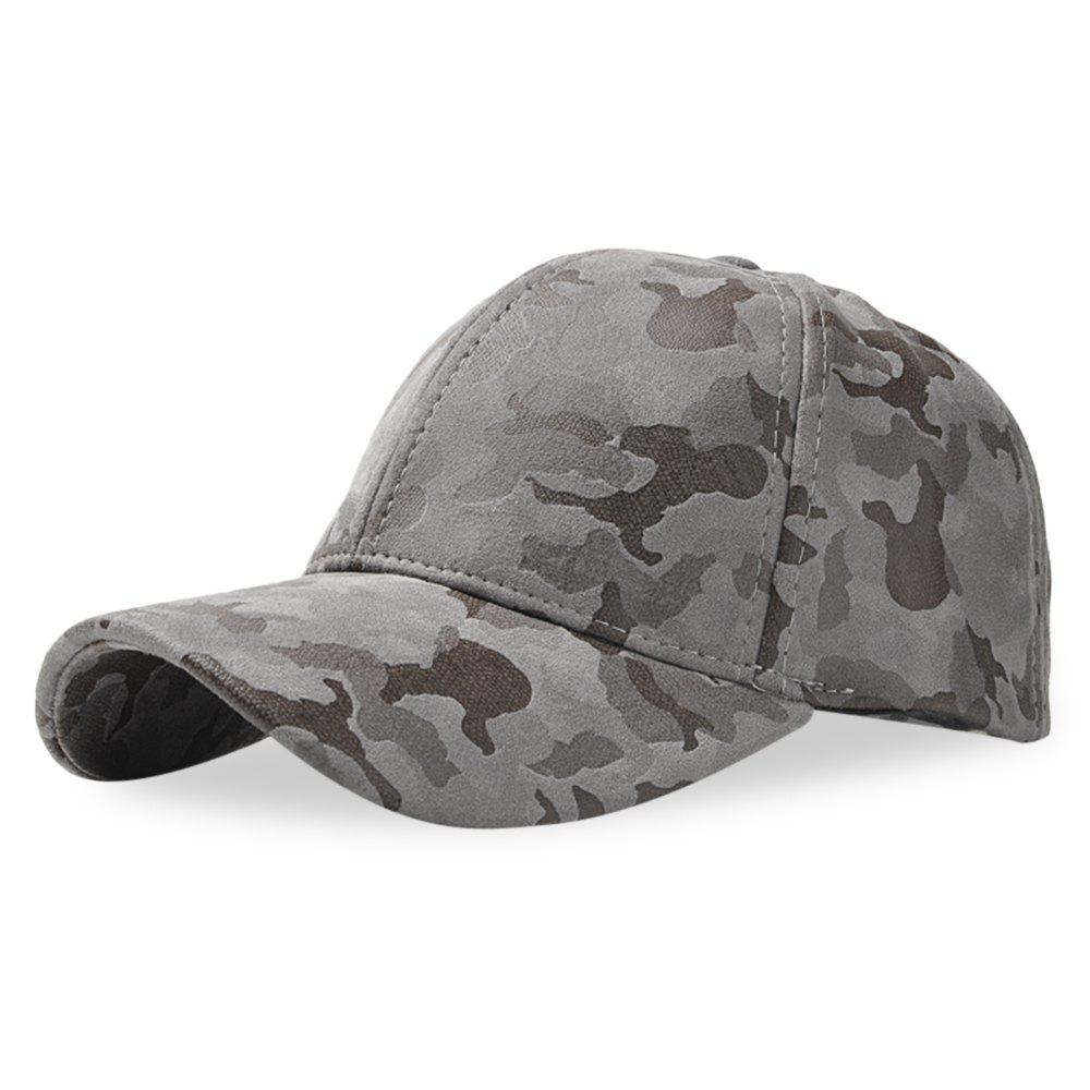 Baseball Cap 6 Panel Hip Hop Men Women Suede Camouflage Adjustable Hat - DARK GRAY