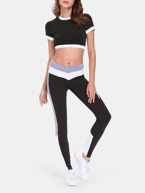 Sports Suit Short Sleeve Top High Waist Pants - WHITE M