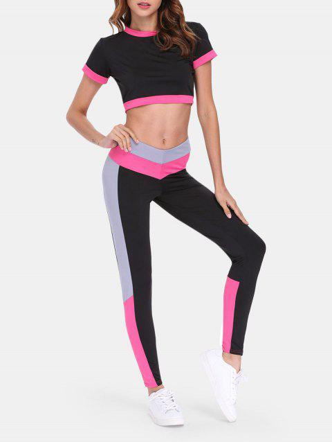 Sports Suit Short Sleeve Top High Waist Pants - RED M