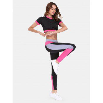 Sports Suit Short Sleeve Top High Waist Pants - RED S