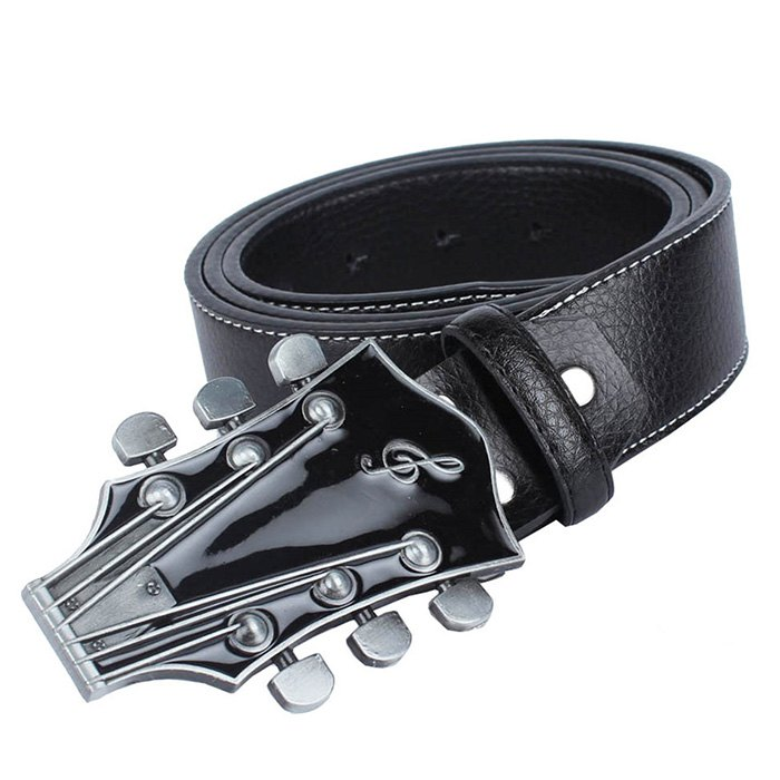 Guitar Belt Leather - BLACK LEATHER BAND