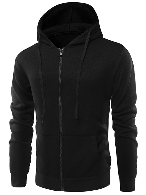 Fashion Solid Color Wild Men Coat Hoodie - BLACK 3XL