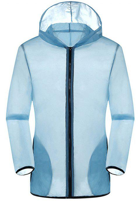 New Summer Ultra-Thin Breathable Long Sleeve Sun Protection Clothing - LIGHT BLUE L