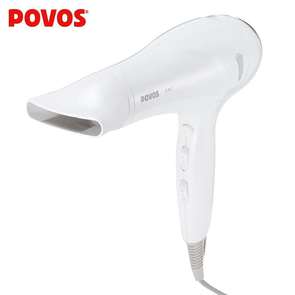 POVOS PH9072I Electric 2200W Anion Hair Blow Dryer with 2 Airflow Concentrator - WHITE CHINESE PLUG