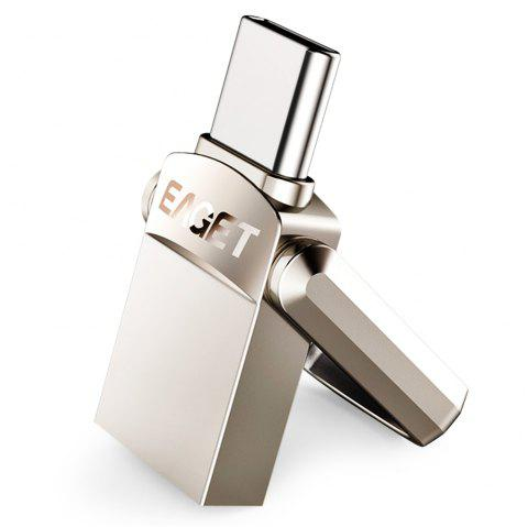 EAGET CU20 USB Flash Drive Type-C 3.1 USB 3.0 2-in-1 Rotary Design - SILVER 32G