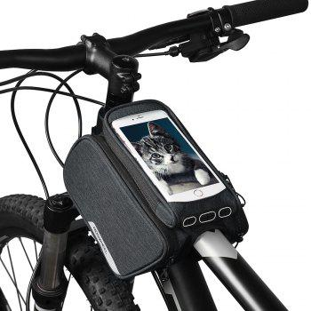 ROSWHEEL 121462 Bike Frame Bag Cycling Top Tube Pannier with Cell Phone Holder - GRAY
