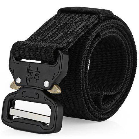EDCGEAR Tactical Belt Military Webbing Rigger Web Strap with Quick Release Buckle - BLACK
